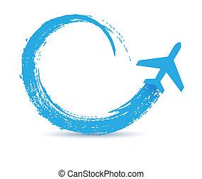 civil, út, repülőgépek, ikon