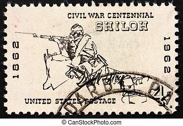 civil, 1962:, unido, estampilla, hacia, -, norteamericano, 1962, estados, soldado, shiloh, impreso, batalla, américa, guerra, exposiciones