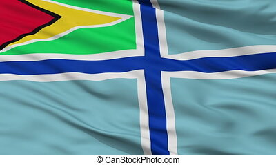 Civil Air Ensign Of Guyana Flag Closeup Seamless Loop