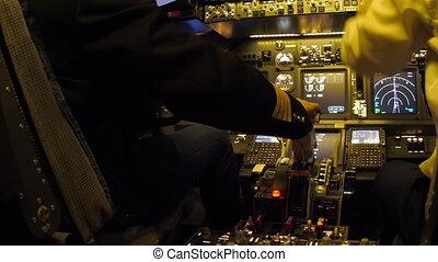 Civil aircraft cockpit. - Pilots of passenger aircraft...