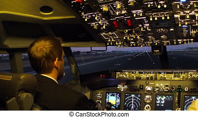 Civil aircraft cockpit. - Pilots of passenger aircraft...