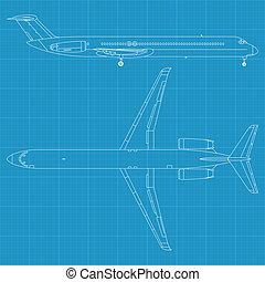 civil, avión, moderno