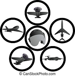 Civil aviation - Badges with the image of civil aircraft