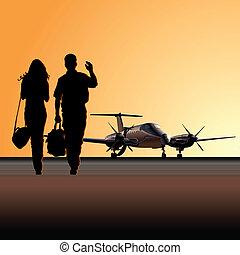 civil, avion, utilité, aérodrome