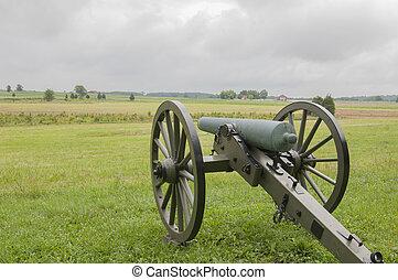 civil, campo batalha, americano, gettysburg, guerra