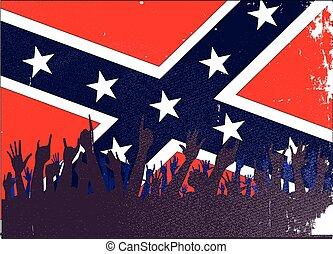 civil, drapeau, confédéré, audience, guerre
