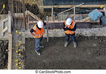 civil, emplacement travail, construction, inspection, progrès, ingénieurs