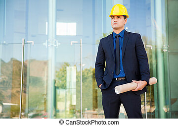 Civil engineer at construction site - Attractive young civil...
