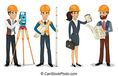 Civil engineer, surveyor, architect and construction workers...