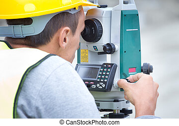 Civil engineer with theodolite - Surveyor engineer working...