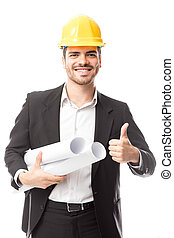 Civil engineer with thumb up