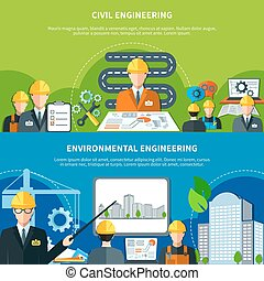 Civil Engineering Banners Set