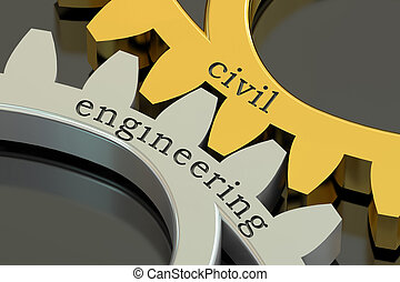 civil engineering concept on the gearwheels, 3D rendering