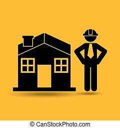 civil engineering icon with house, vector illustration