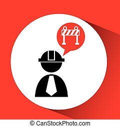 civil engineering icon with stop sign, vector illustration