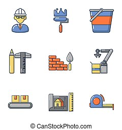 Civil engineering icons set, cartoon style