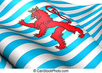 Civil Ensign of Luxembourg. Close Up.