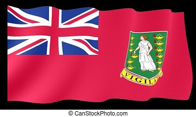 Civil Ensign of the Birish Virgin Islands. Waving flag computer animatie.
