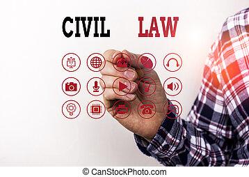 civil, entre, intéressé, privé, droit & loi, photo, conceptuel, main, membres, law., écriture, community., relations, projection, texte, business