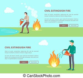 Civil Extinguish Fire Set of Posters with Text