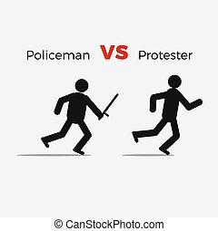 civil, fâché, policier, attaque, homme