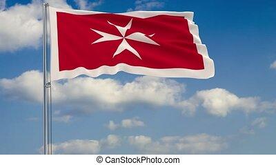 Civil flag of Malta against background clouds sky