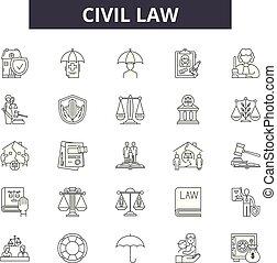 Civil law line icons, signs set, vector. Civil law outline concept illustration: lawyer, business, law, judge, criminal, civil, court, line