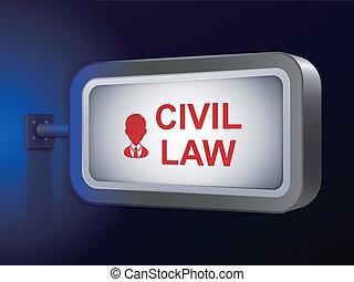civil law words on billboard over blue background