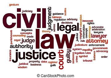civil, ley, palabra, nube