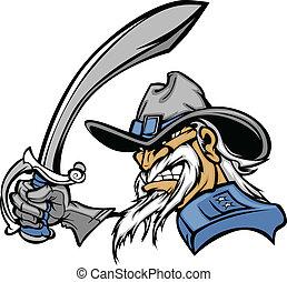civil, mascote, guerra, espada, geral