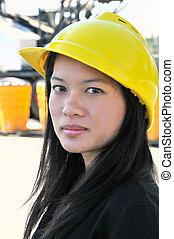 civil, mujer, asiático, ingeniero