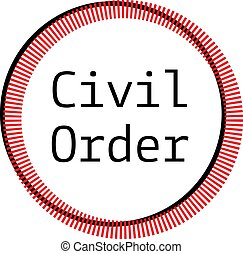CIVIL ORDER stamp on white background. Stickers labels and...