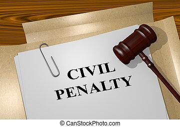 civil, pénalité, concept, légal