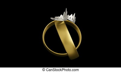 Civil partnership wedding rings conceptual animation with...