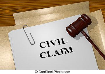 civil, réclamation, concept, légal