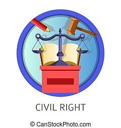 Civil right subject studies themed concept logo - Civil...