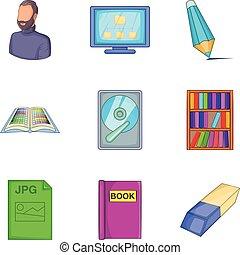 Civil servant icons set, cartoon style - Civil servant icons...