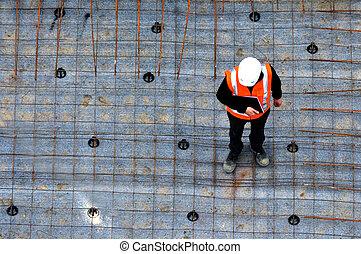 civil, site trabalho, construção, inspeccionando, progresso,...
