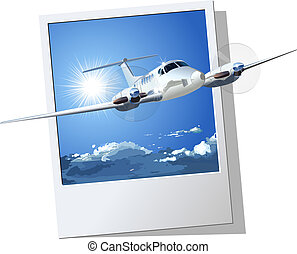 Vector Civil Airplane. Available EPS-8 vector formats separated by groups and layers for easy edit.
