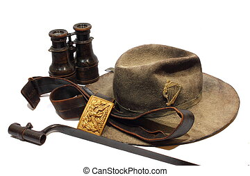 Civil War Artifacts - Isolated antique Civil War artifacts...