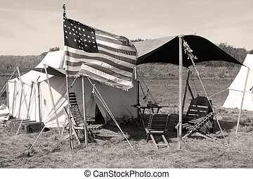 The camp of Union soldiers at a Civil War encampment.