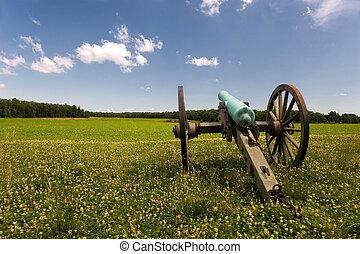 Civil War cannon in green field - US Civil War cannon in a...