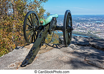 Civil War Cannon Overlooking Chattanooga Tennessee - Cannon...