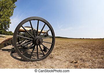 Civil War Cannon - A close up shot of a Civil War cannon in...
