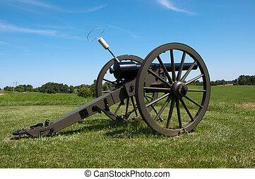 Civil War Cannon - A Civil War era cannon on a ridge at...