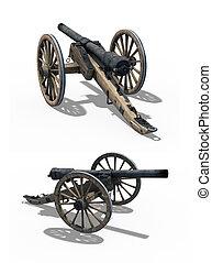 Civil War Cannon - Two Views - A Civil War cannon - two...
