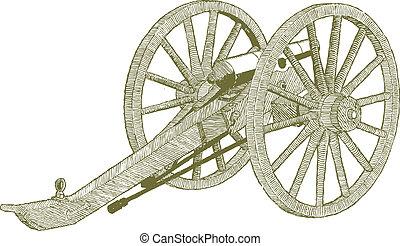 Civil War Cannon - Woodcut style illustration of a civil war...