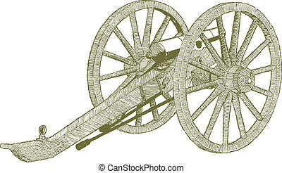 Civil War Cannon - Woodcut style illustration of a civil war...