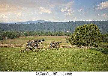 Civil War cannons at Antietam (Sharpsburg) battlefield in Maryland