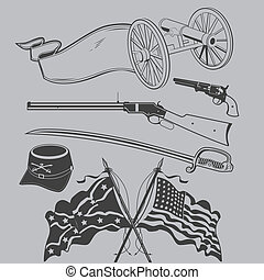 Civil War artwork collection featuring weapons and flags